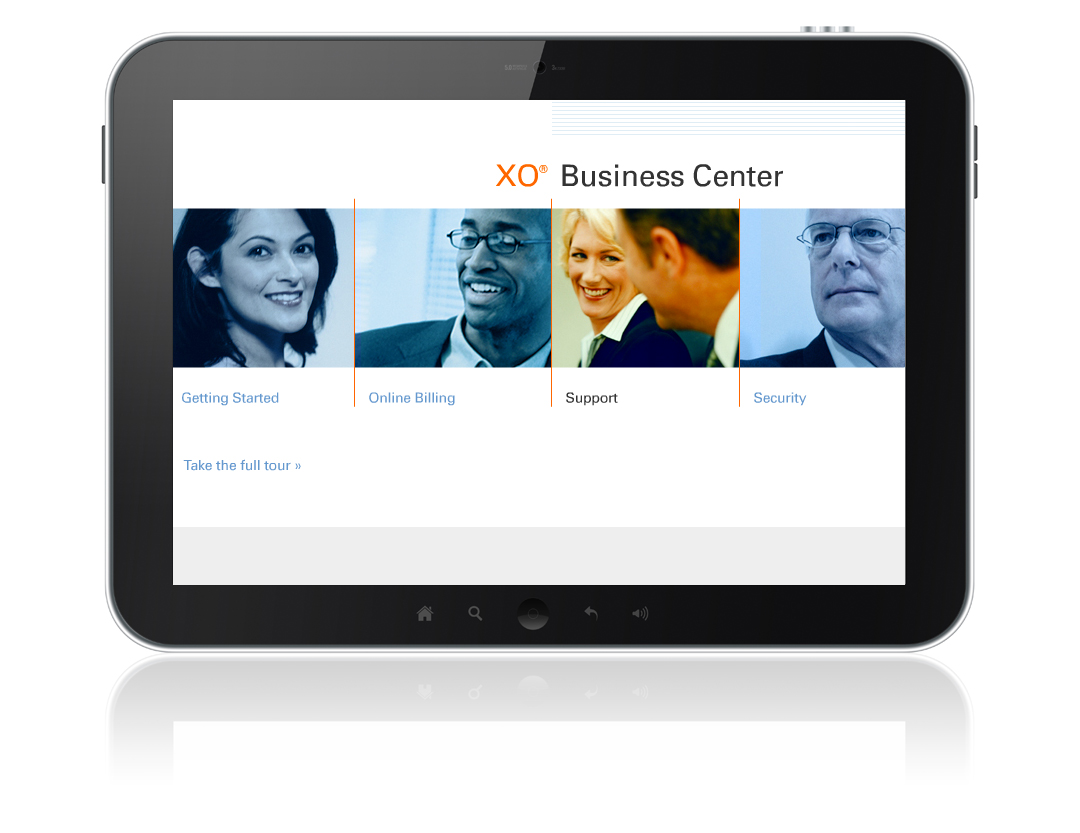 Tablet showing responsive home page of the XO Communications Business Center website.